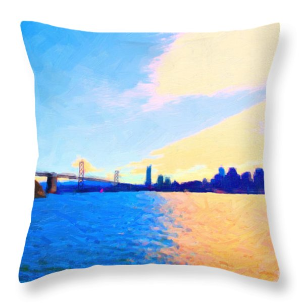 The Bay Bridge And The San Francisco Skyline Throw Pillow by Wingsdomain Art and Photography
