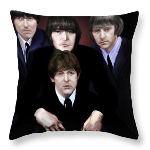 The Beatles Throw Pillow by Reggie Duffie