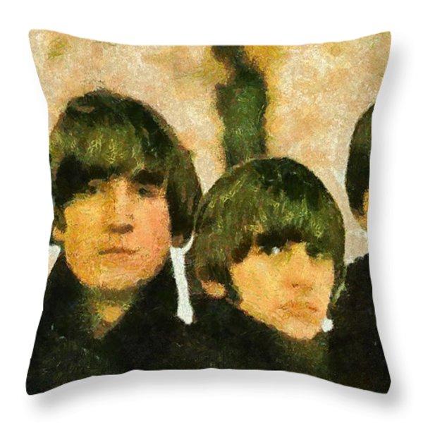 The Beatles Throw Pillow by Riccardo Zullian