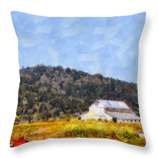 The Big White Barn At Point Reyes California . 7d15933 Throw Pillow by Wingsdomain Art and Photography