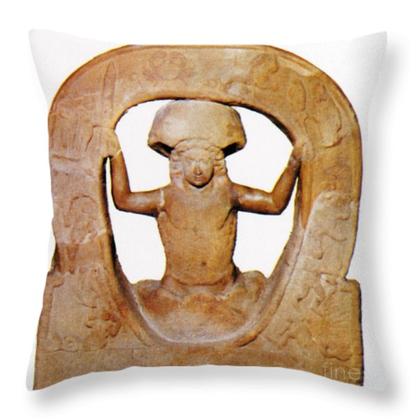 The Birth Of Mithras, Greek God Throw Pillow by Photo Researchers
