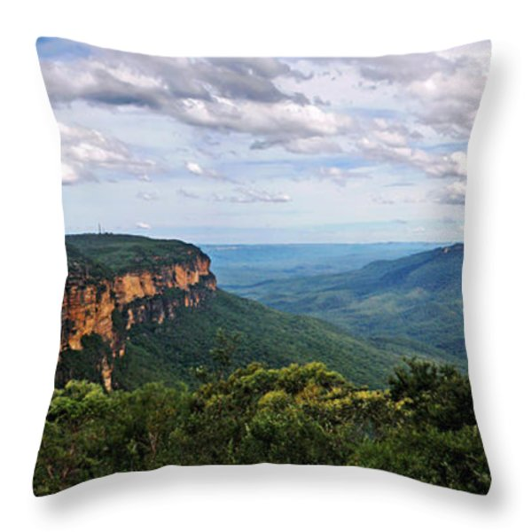 The Blue Mountains - Panoramic View Throw Pillow by Kaye Menner