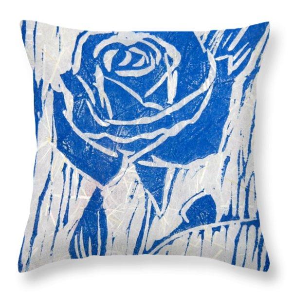 The Blue Rose Throw Pillow by Marita McVeigh