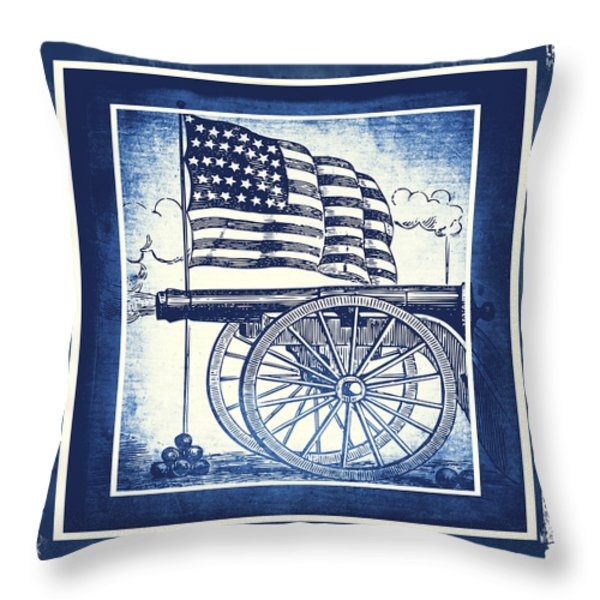 The Bombs Bursting In Air Blue Throw Pillow by Angelina Vick