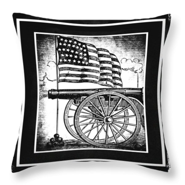 The Bombs Bursting In Air Bw Throw Pillow by Angelina Vick