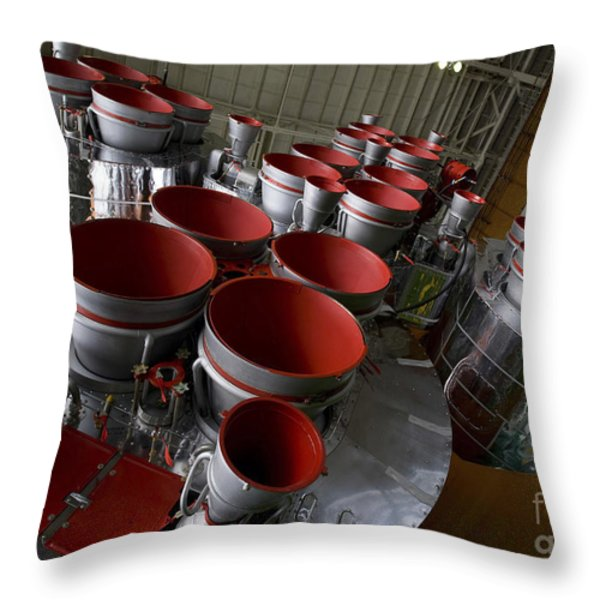 The Boosters Of The Soyuz Tma-14 Throw Pillow by Stocktrek Images