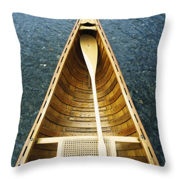 The Bow And Oar Of A Handmade Wooden Throw Pillow by Bill Curtsinger