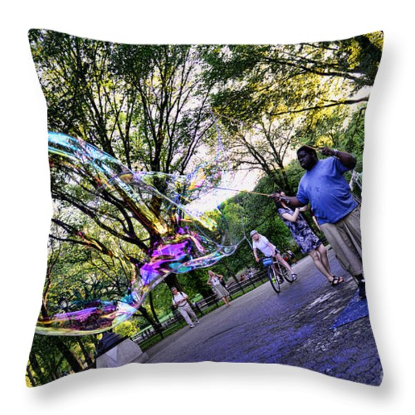 The Bubble Man Of Central Park Throw Pillow by Paul Ward