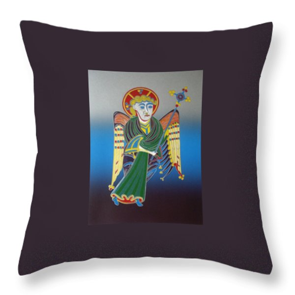 The Celtic Angel Throw Pillow by Jarle Rosseland