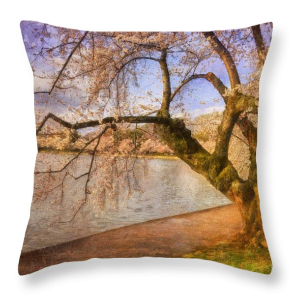 The Cherry Blossom Festival Throw Pillow by Lois Bryan