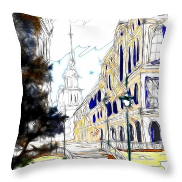 The Church In The Middle Of Town Throw Pillow by Cheryl Young