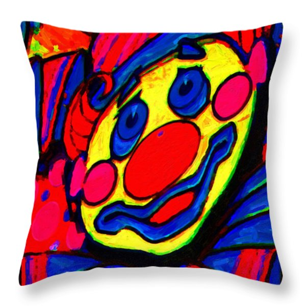 The Circus Circus Clown Throw Pillow by Wingsdomain Art and Photography