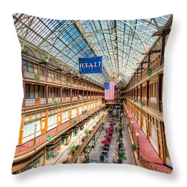 The Cleveland Arcade I Throw Pillow by Clarence Holmes