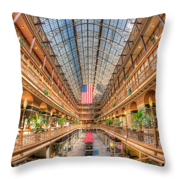 The Cleveland Arcade II Throw Pillow by Clarence Holmes