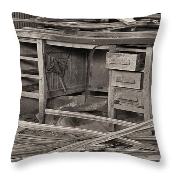 The Cluttered Desk Throw Pillow by JC Findley