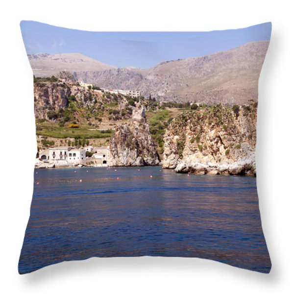 The coast of Zingaro reserve Throw Pillow by Focus  Fotos