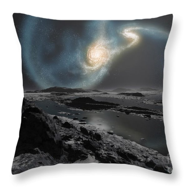 The Collision Of The Milky Way Throw Pillow by Ron Miller