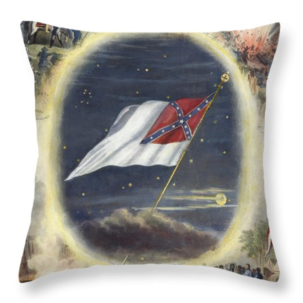 The Confederate Flag, 1867 Throw Pillow by Granger