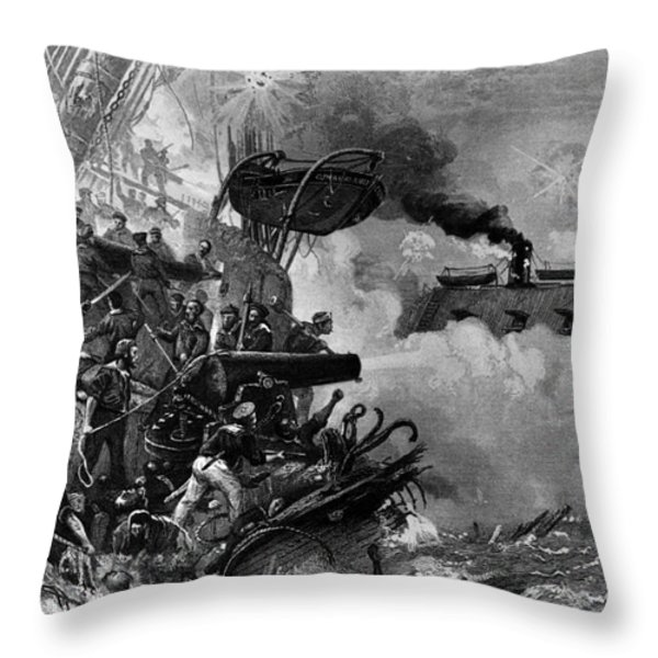 The Confederate Ironclad Merrimack Throw Pillow by Photo Researchers