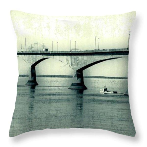 The Confederation Bridge PEI Throw Pillow by Edward Fielding