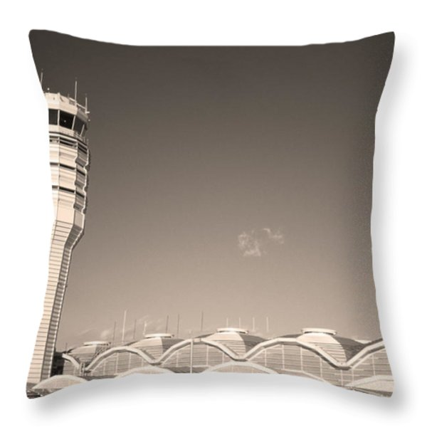 The control tower and Throw Pillow by Stephen Alvarez