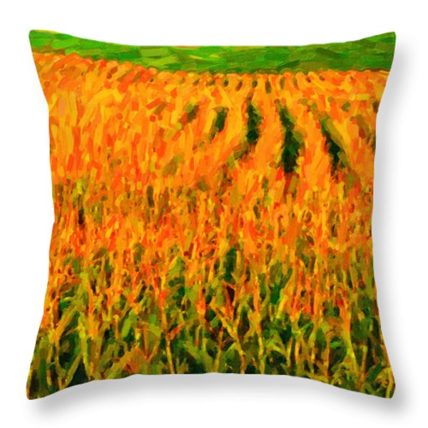 The Cornfield Throw Pillow by Wingsdomain Art and Photography