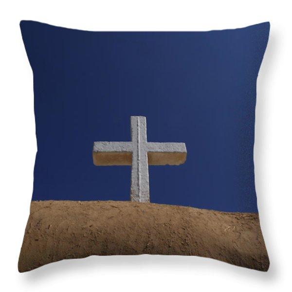 The Cross Above Saint Francis Catholic Throw Pillow by Raul Touzon