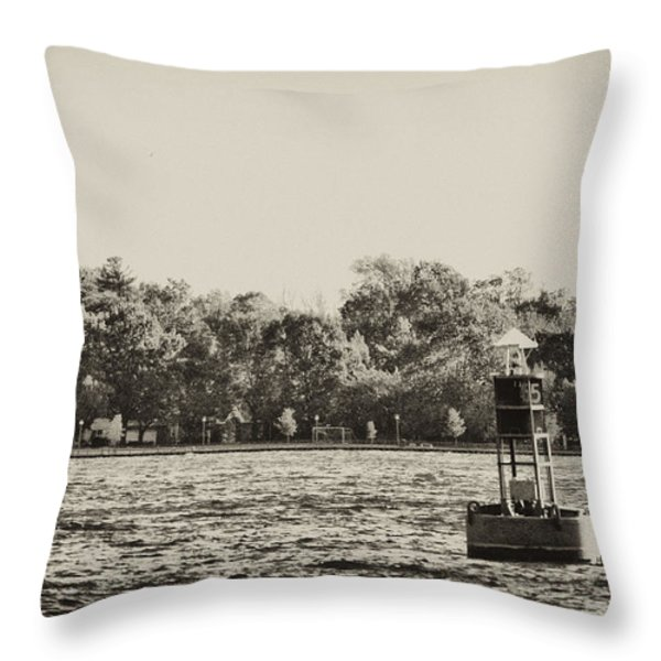 The Delaware River At Bristol Throw Pillow by Bill Cannon