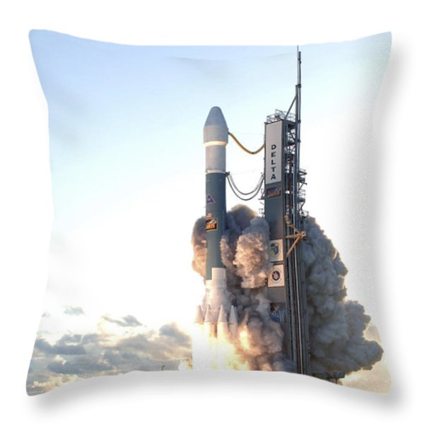 The Delta II Rocket Lifts Throw Pillow by Stocktrek Images