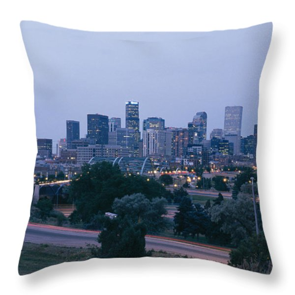 The Denver Skyline At Dusk Throw Pillow by Richard Nowitz