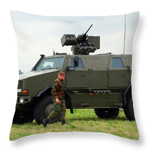The Dingo II In Use By The Belgian Army Throw Pillow by Luc De Jaeger