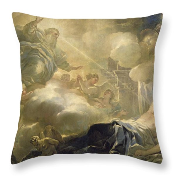 The Dream Of Solomon Throw Pillow by Luca Giordano