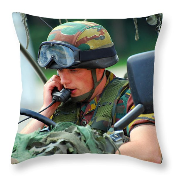 The Driver Of A Mortar Section Throw Pillow by Luc De Jaeger
