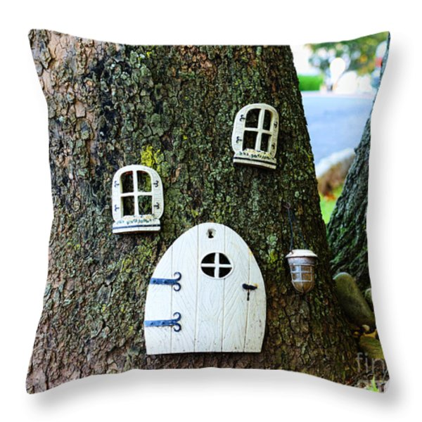 The Elf House Throw Pillow by Paul Ward