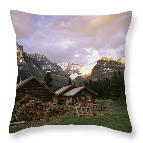 The Elizabeth Parker Hut, A Log Cabin Throw Pillow by Michael Melford