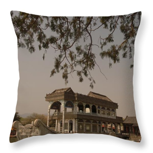 The Empress Dowagers Marble Boat Throw Pillow by Richard Nowitz