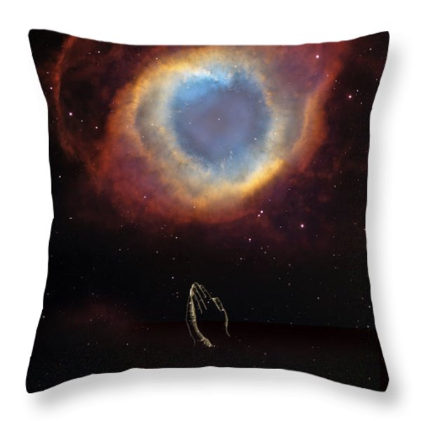 The Eye Of God And Praying Hands Throw Pillow by Heinz G Mielke