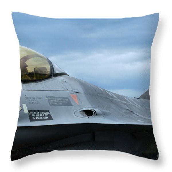 The F-16 Aircraft Of The Belgian Army Throw Pillow by Luc De Jaeger