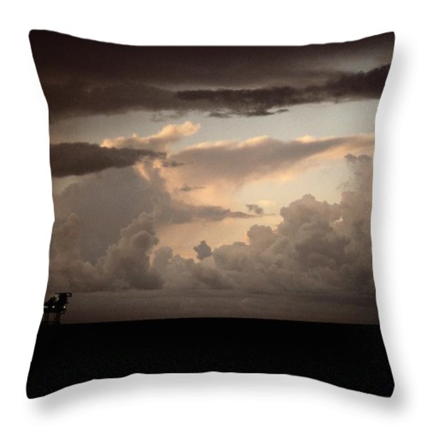 The Faint Lights Of A Gas Platform Throw Pillow by Wolcott Henry