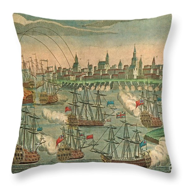 The Fall Of Louisbourg 1758 Throw Pillow by Photo Researchers