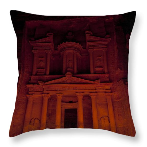 The Famous Treasury Lit Up At Night Throw Pillow by Taylor S. Kennedy
