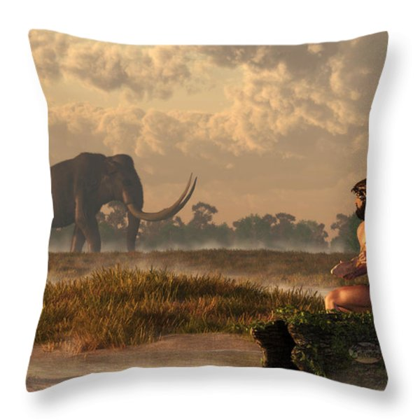 The First American Wildlife Artist Throw Pillow by Daniel Eskridge