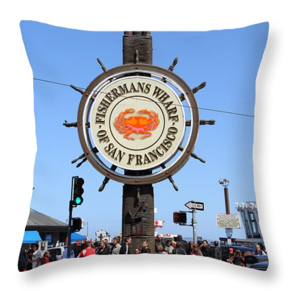The Fishermans Wharf Sign . San Francisco California . 7d14225 Throw Pillow by Wingsdomain Art and Photography