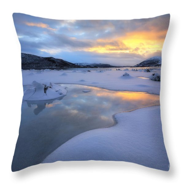 The Fjord Of Tjeldsundet In Troms Throw Pillow by Arild Heitmann