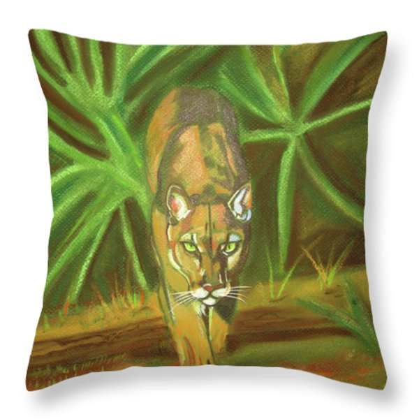 The Florida Panther Throw Pillow by John Keaton