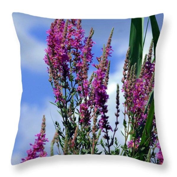 The Flowers Praise Him Throw Pillow by Kathleen Struckle