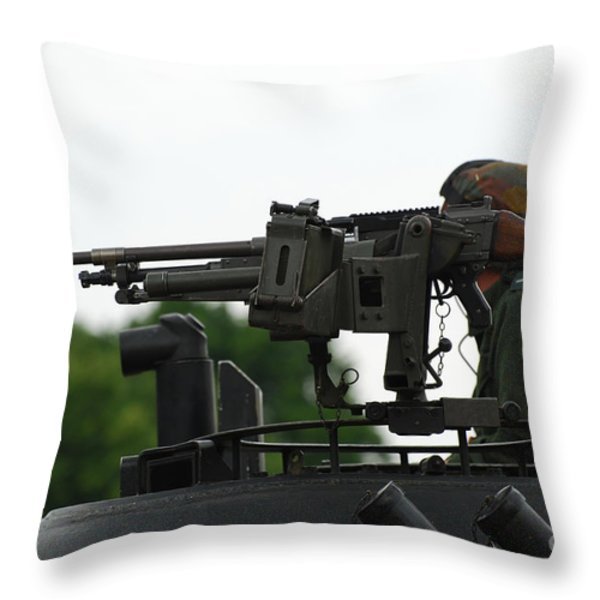 The Fn Mag Gun On The Turret Throw Pillow by Luc De Jaeger