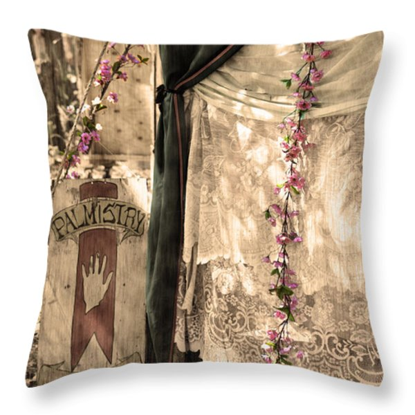 The Fortune Teller Palmistry Throw Pillow by Robin Lewis