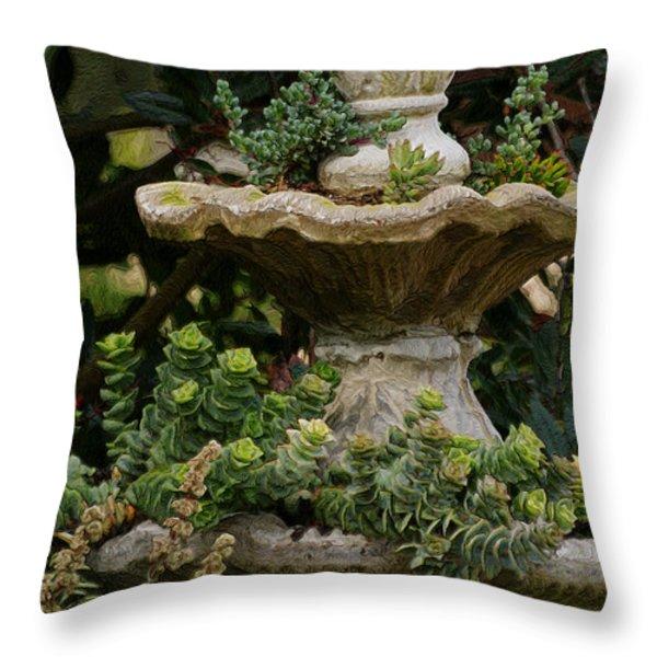 The Fountain Painterly Throw Pillow by Ernie Echols