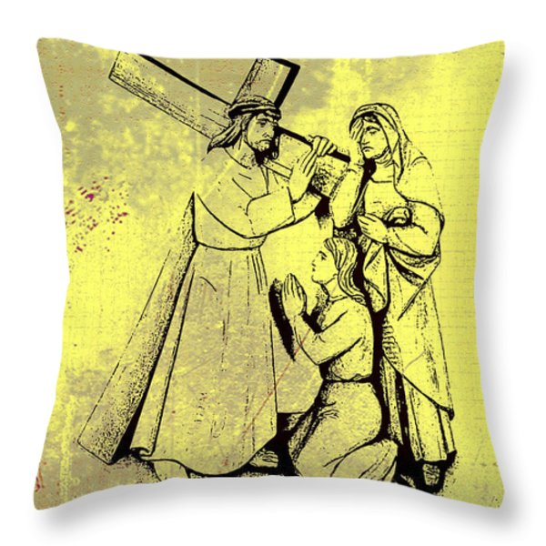 The Fourth Station Of The Cross - Jesus Meets His Mother Throw Pillow by Bill Cannon